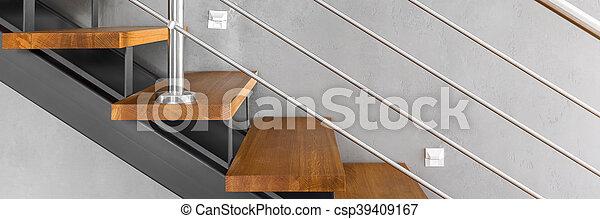 chromed, escalier, balustrade - csp39409167