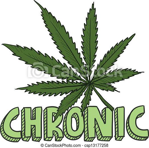 Chronic marijuana sketch - csp13177258