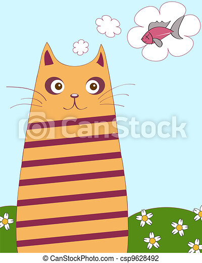 chubby cat - csp9628492