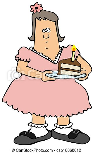 Clipart of Chubby girl eating birthday cake This illustration