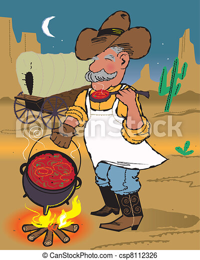 chuckwagon chili a cowboy cook sampling his dinner from the clip rh canstockphoto com Cowboy Campfire Illustration Cowboy Campfire Illustration