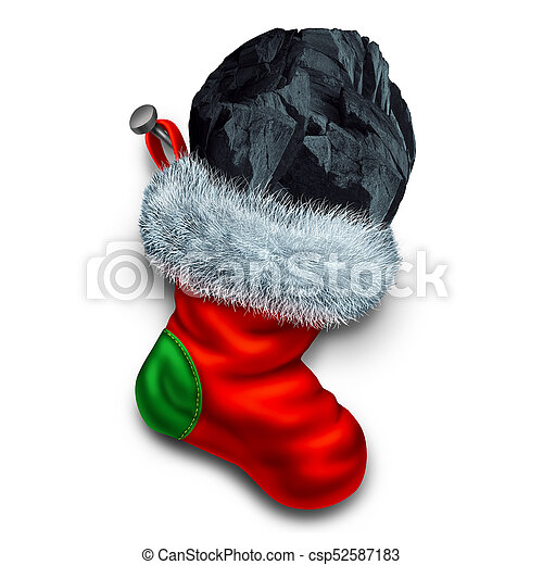 Chunk of coal in stocking. Chunk of coal in holiday stocking as a ...