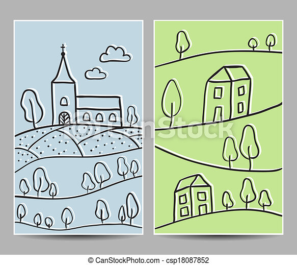 Church and village cards - csp18087852