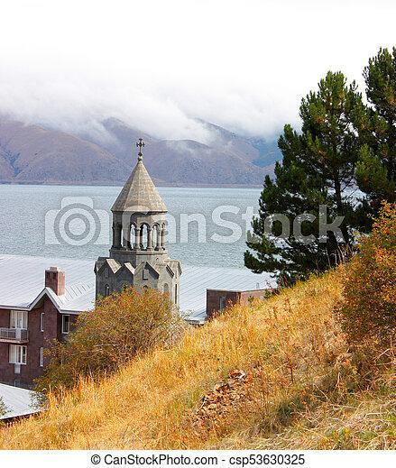 Church by the lake - csp53630325