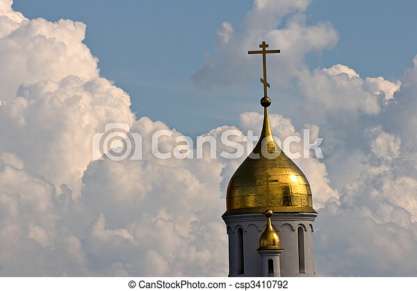 church cupola on sky background - csp3410792