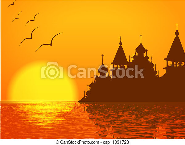 Church Cupola Silhouette and Sunset - csp11031723