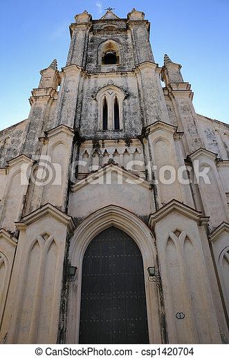 Church facade in havana - csp1420704