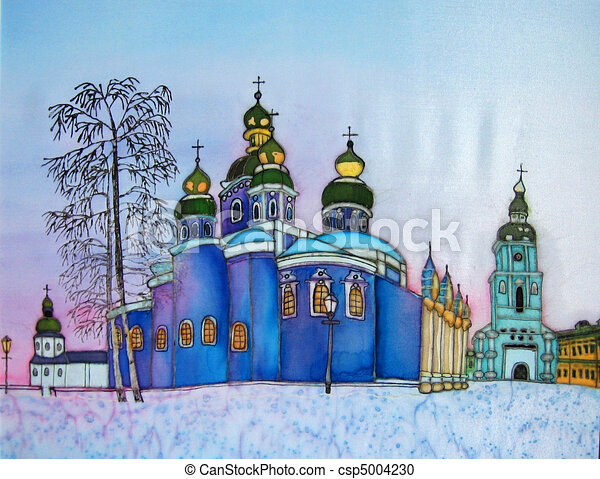 Church in Kiev, original painting. - csp5004230