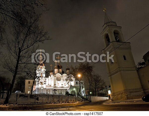 Church in Moscow night view - csp1417507