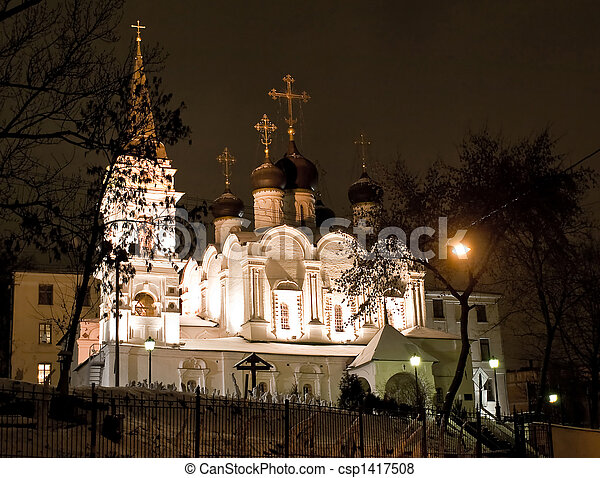 Church in Moscow night view - csp1417508