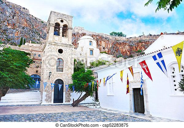 church inside the castle of Monemvasia Laconia Peloponnese Greece - csp52283875