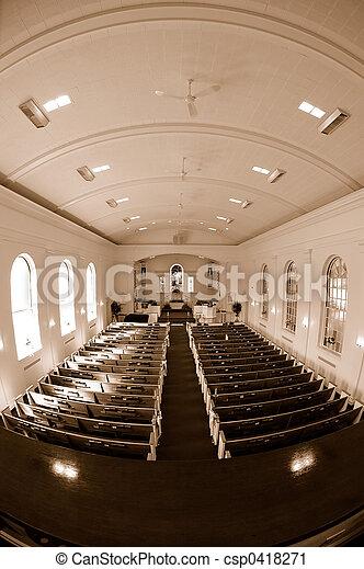 Church Interior Fisheye View - csp0418271