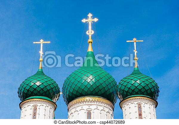 Church of Elijah the Prophet in Yaroslavl. Golden ring, Russia. - csp44072689