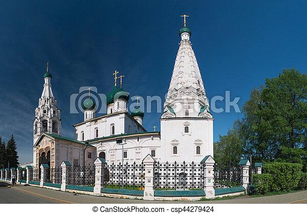 Church of Elijah the Prophet in Yaroslavl. Golden ring, Russia. - csp44279424