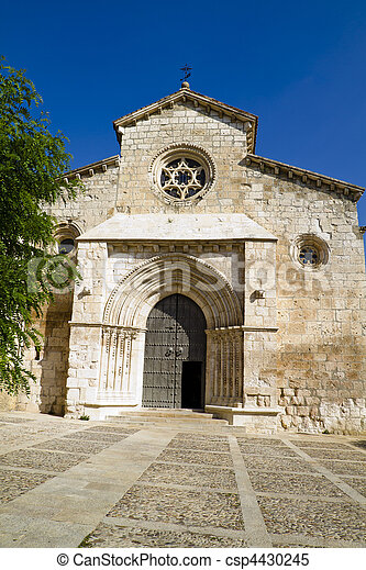Church of San Felipe, built in the S. XIII transitional Romanesque to Gothic. Brihuega, Spain - csp4430245