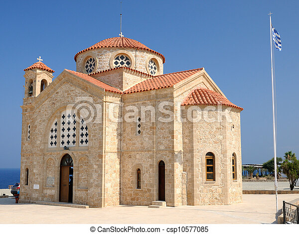 Church of St. George on Mediterranean Sea coast near of Paphos, Republic of Cyprus - csp10577085