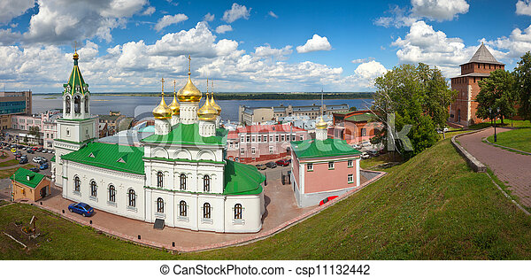 Church of the Nativity John the Baptist and Kremlin wall - csp11132442