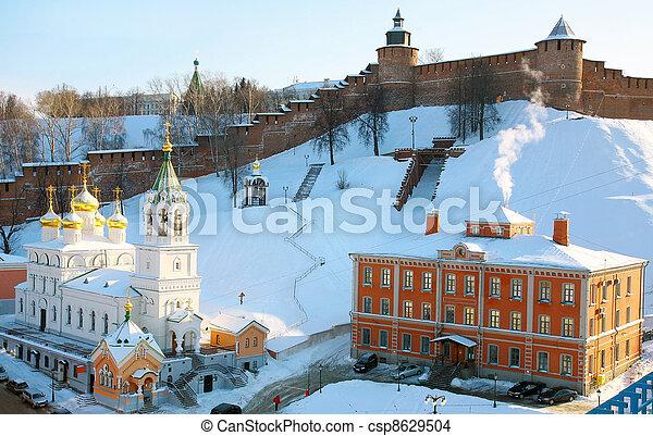 Church of the Nativity of St. John the Baptist and Kremlin Nizhny Novgorod - csp8629504