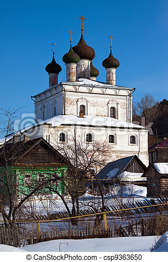 Church of the Resurrection at Gorokhovets in winter  - csp9363650