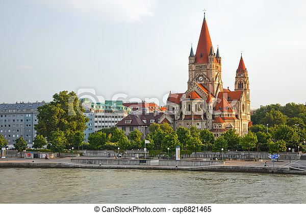 church on Danube River, Vienna - csp6821465