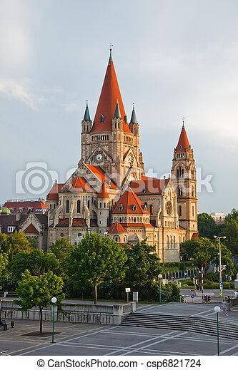 church on Danube River, Vienna - csp6821724