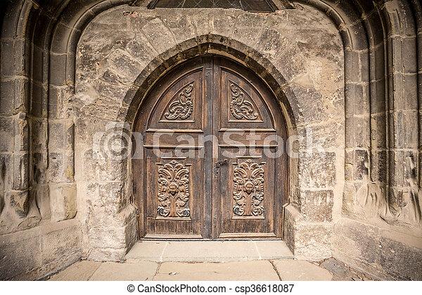 Church or castle door - csp36618087 & Church or castle door. Detail of an old church or castle door.