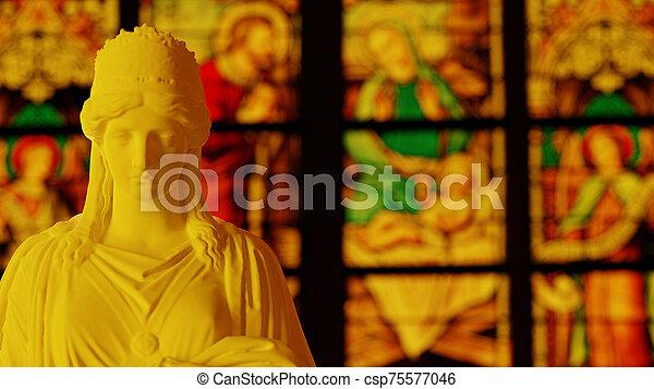 church view orange color - csp75577046