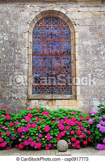 Church window in Brittany - csp0917773