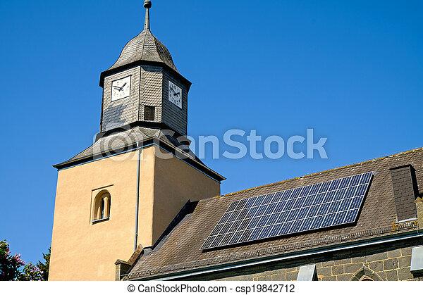 Church with solar panels - csp19842712