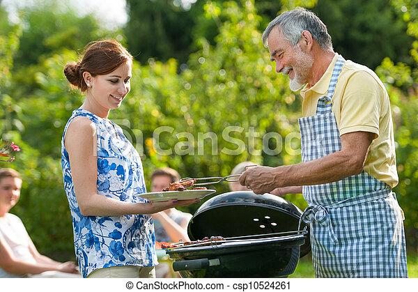 churrasco, tendo, partido família - csp10524261