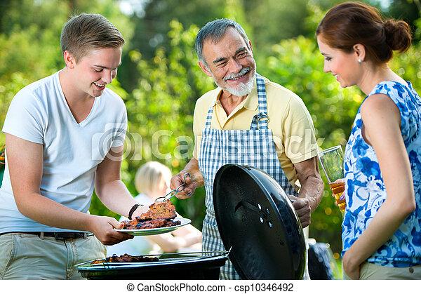 churrasco, tendo, partido família - csp10346492