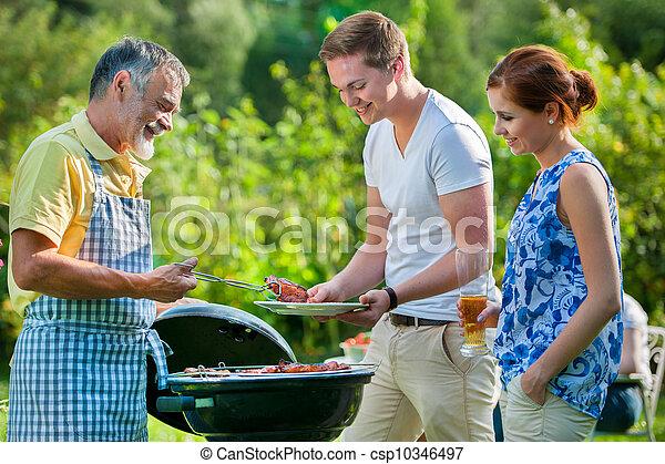 churrasco, tendo, partido família - csp10346497