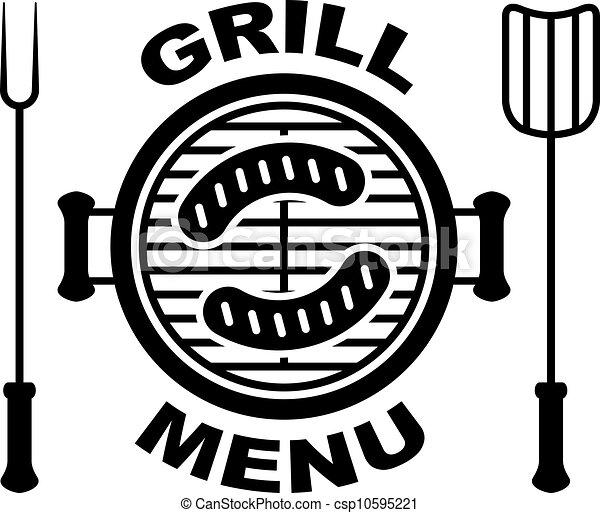 churrasqueira, símbolo, vetorial, menu - csp10595221