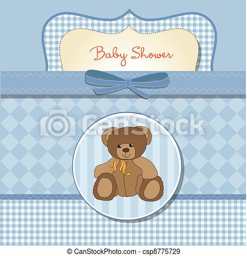 chuva bebê, romanticos, cartão - csp8775729