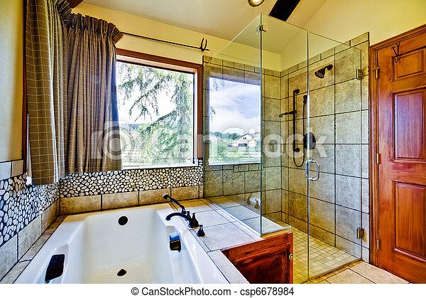 chuveiro, vidro, banheiro, natural, azulejos - csp6678984