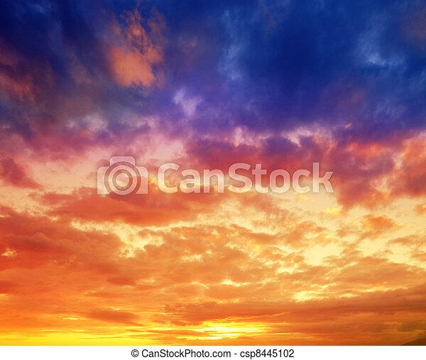 chvějící se, dramatický, západ slunce, havaj - csp8445102