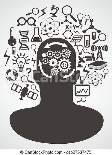 ciência, conjunto cabeça, ícones - csp27537475