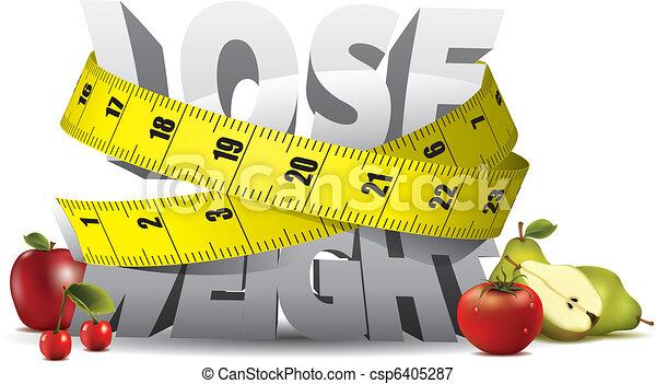 ciężar, zgubić, tekst, miara, taśma, owoce - csp6405287