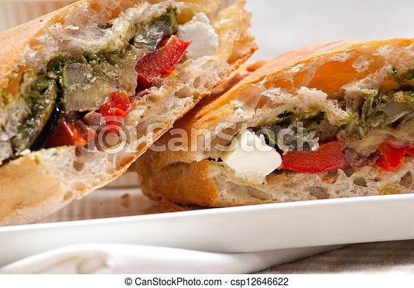 ciabatta panini sandwichwith vegetable and feta - csp12646622