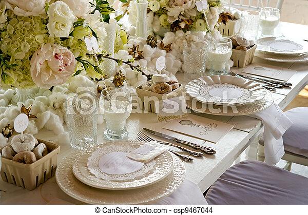 &, ciambelle, latte, matrimonio, tavola, bianco, banchetto - csp9467044