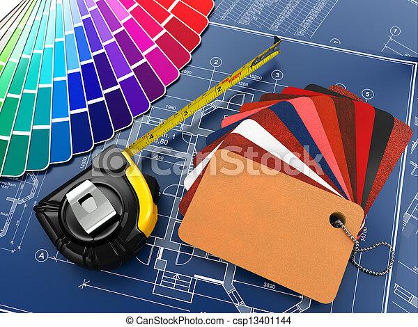 cianografie, materiali, architettonico, interno, attrezzi, design. - csp13401144