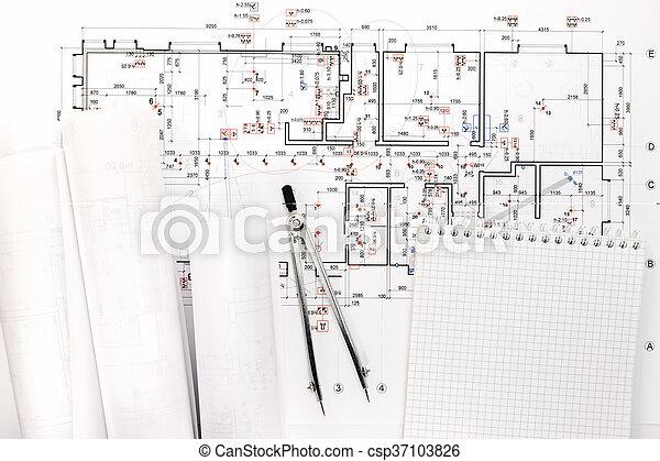 cianotipo, bloc, dibujo, arquitectónico, compás, rollos - csp37103826