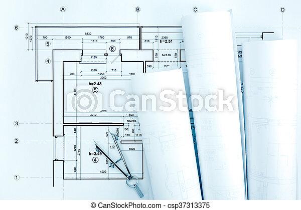 cianotipo, dibujo, plan, arquitectónico, compás, rollos - csp37313375