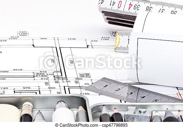 cianotipo, herramientas, dibujo, arquitectónico, rollos - csp47796893