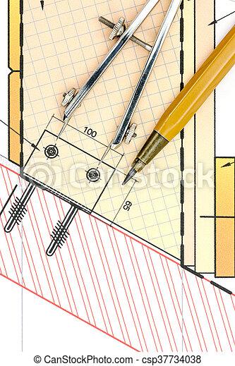 Plano arquitectónico con herramientas de dibujo - csp37734038
