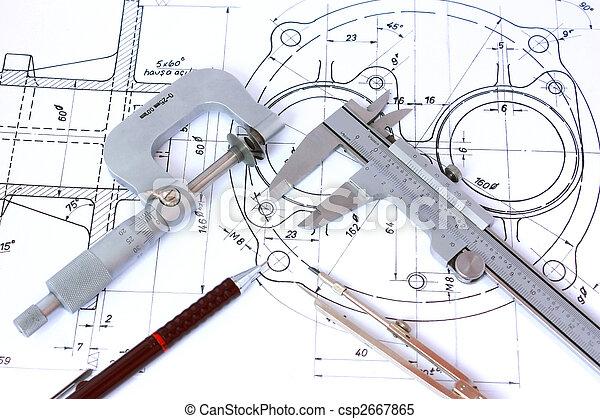 cianotipo, lápiz, mecánico, micrómetro, compás, calibrador - csp2667865
