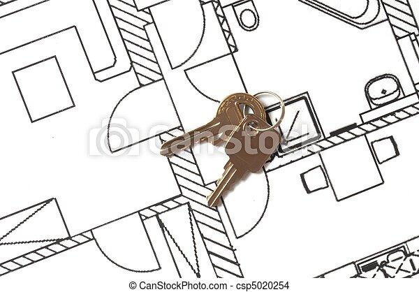Llave de la casa en un plano - csp5020254