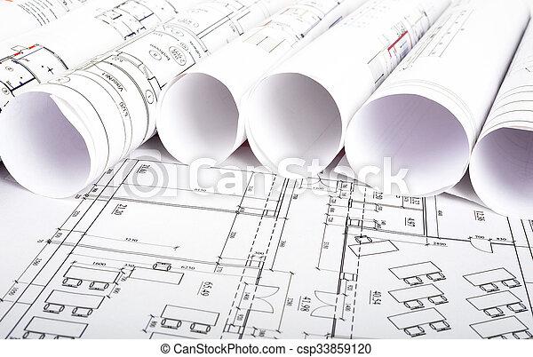 cianotipo, rollos, arquitectónico - csp33859120