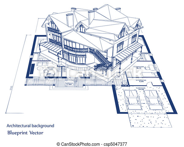 cianotipo, vector, house., arquitectura - csp5047377