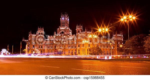 Cibeles Square at Night, Madrid - csp15988455